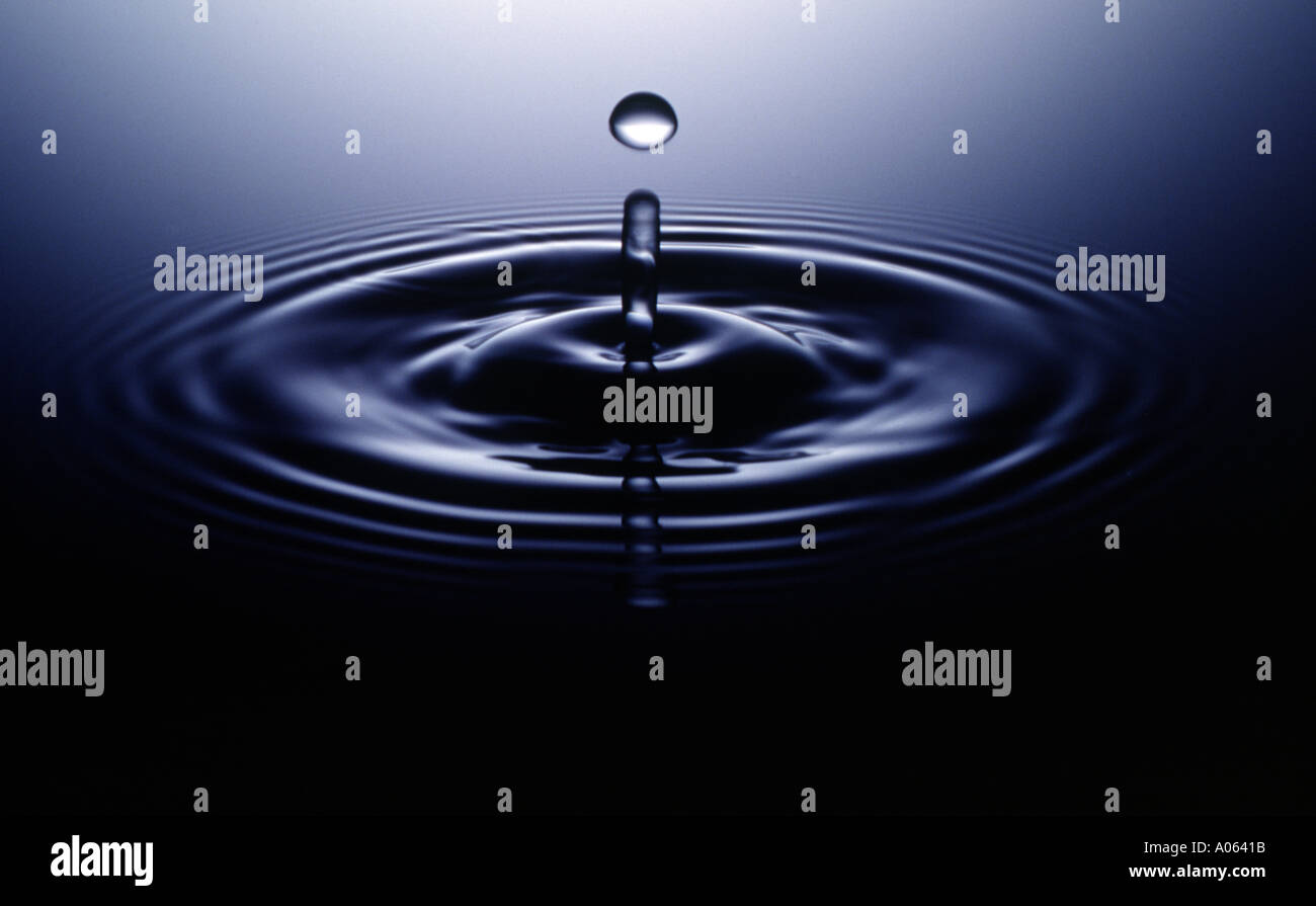 water drop, ripple, stop action - Stock Image