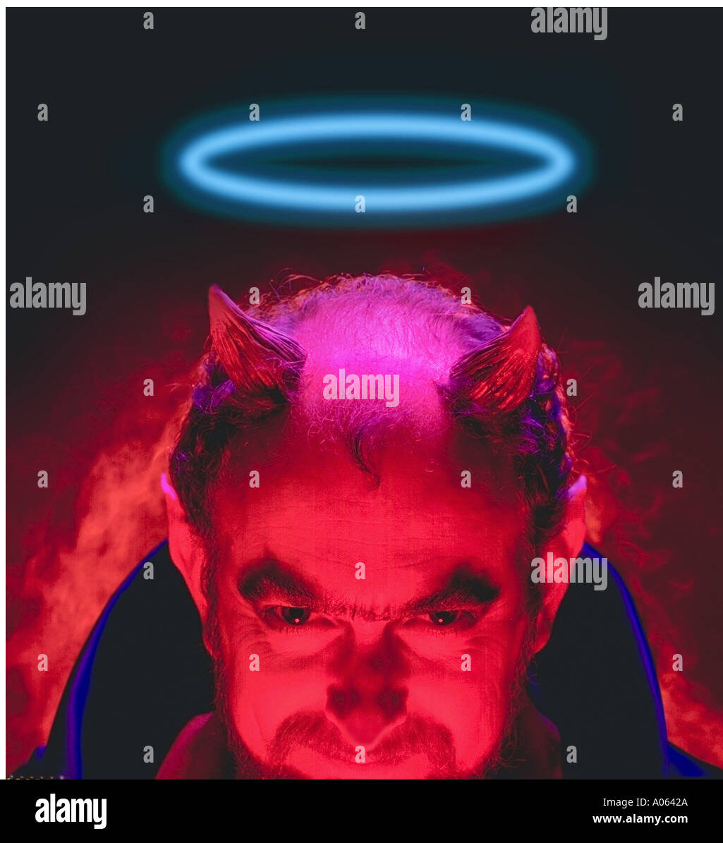 devil with halo - Stock Image