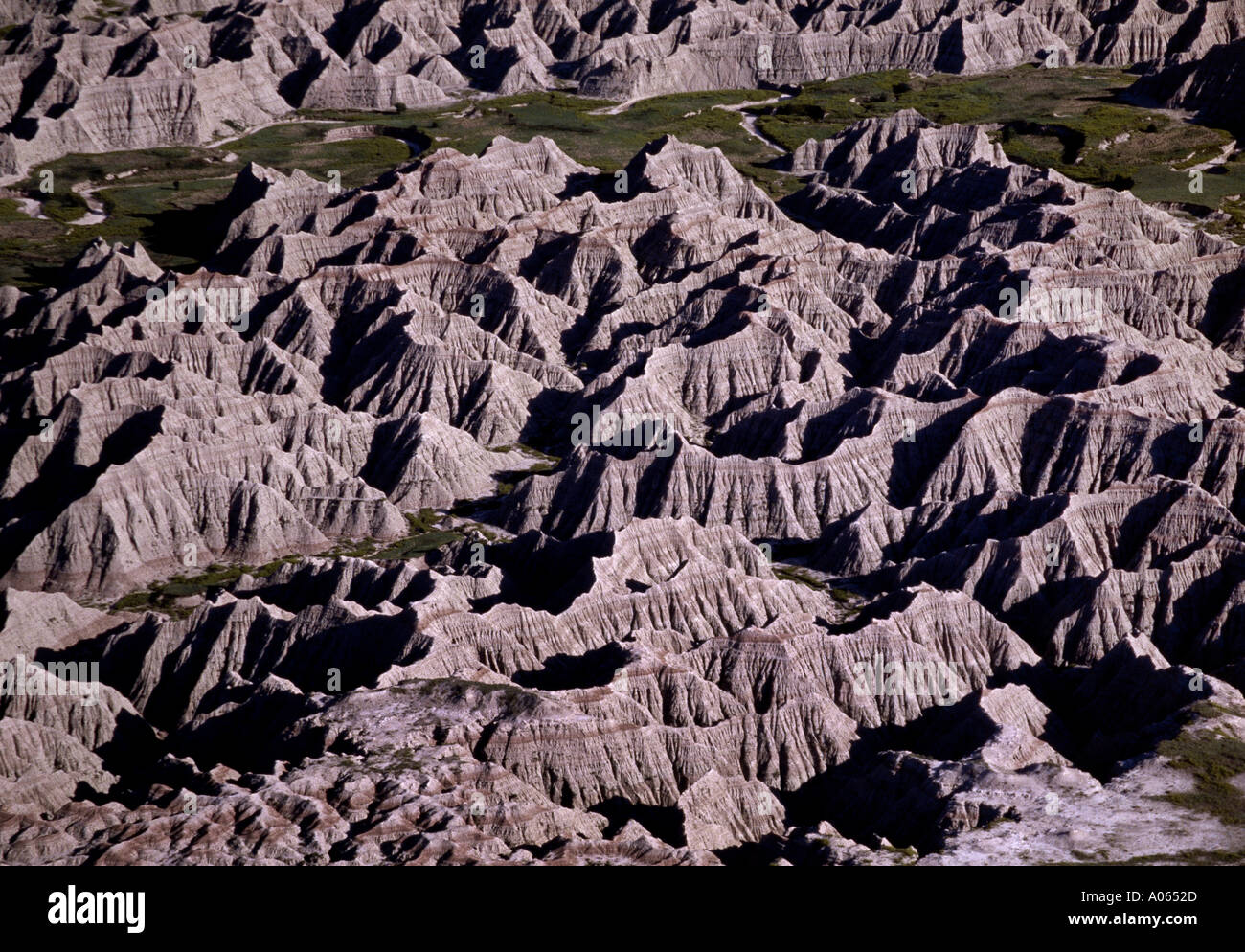 Aerial view of eroded formations Badlands National Park South Dakota USA Stock Photo
