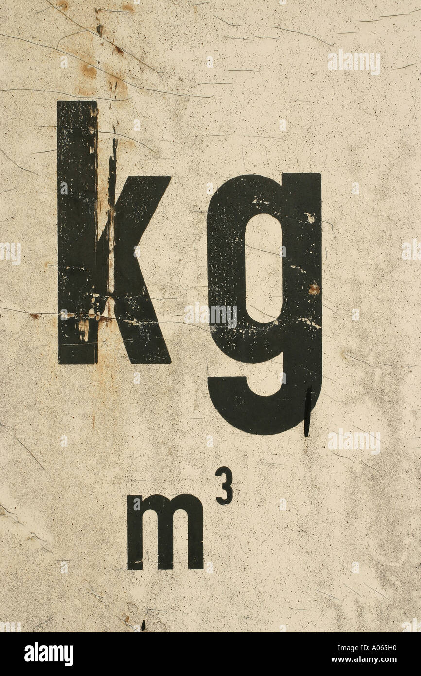 A unit kilogram meter cube is painted on the wall with black color - Stock Image