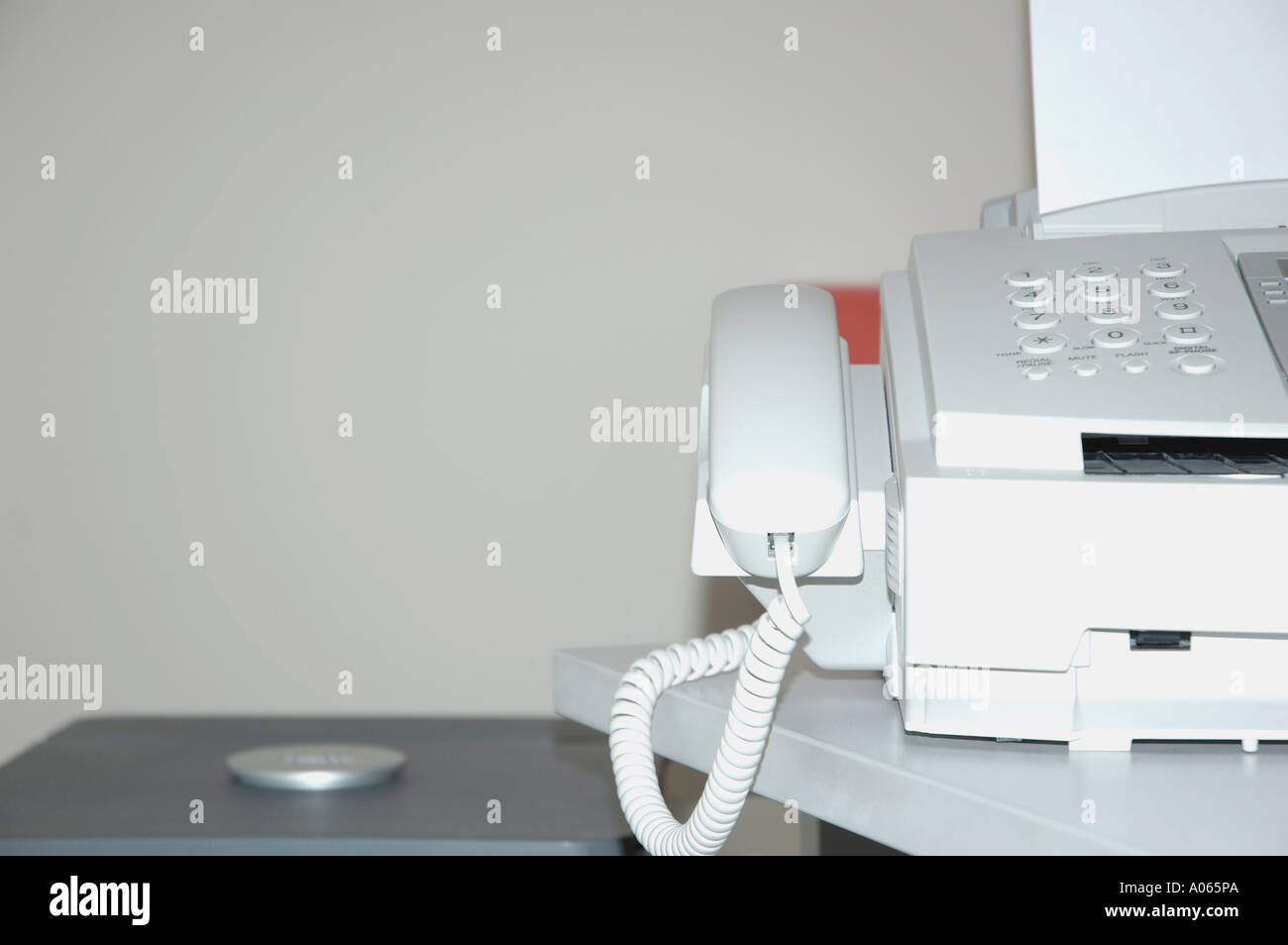 Section of a facsimile machine seen at close up - Stock Image