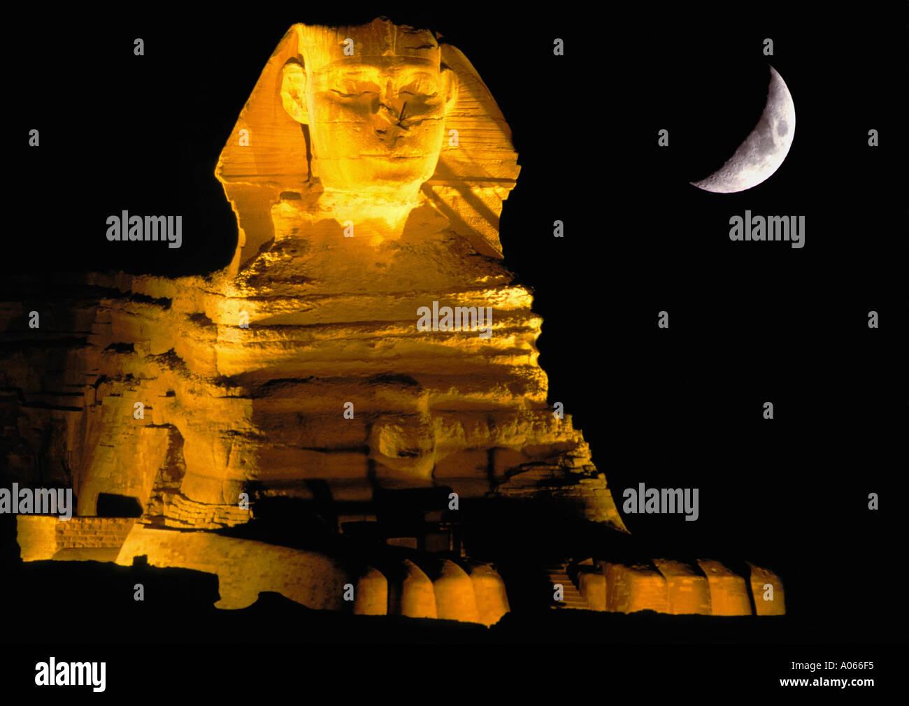 Sphinx moon Giza Egypt - Stock Image
