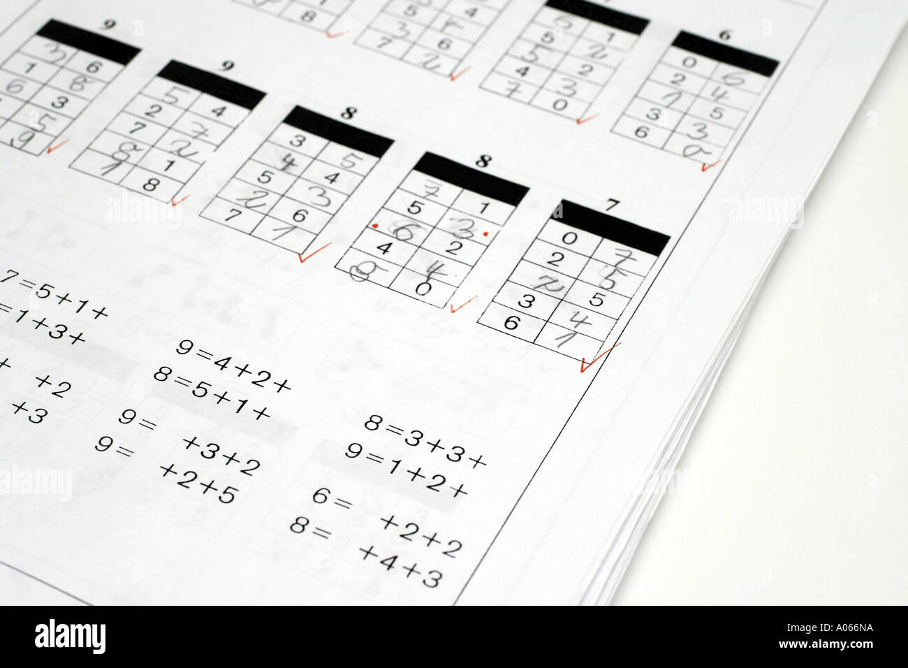 Corrected mathematics sheets are kept on a table Stock Photo