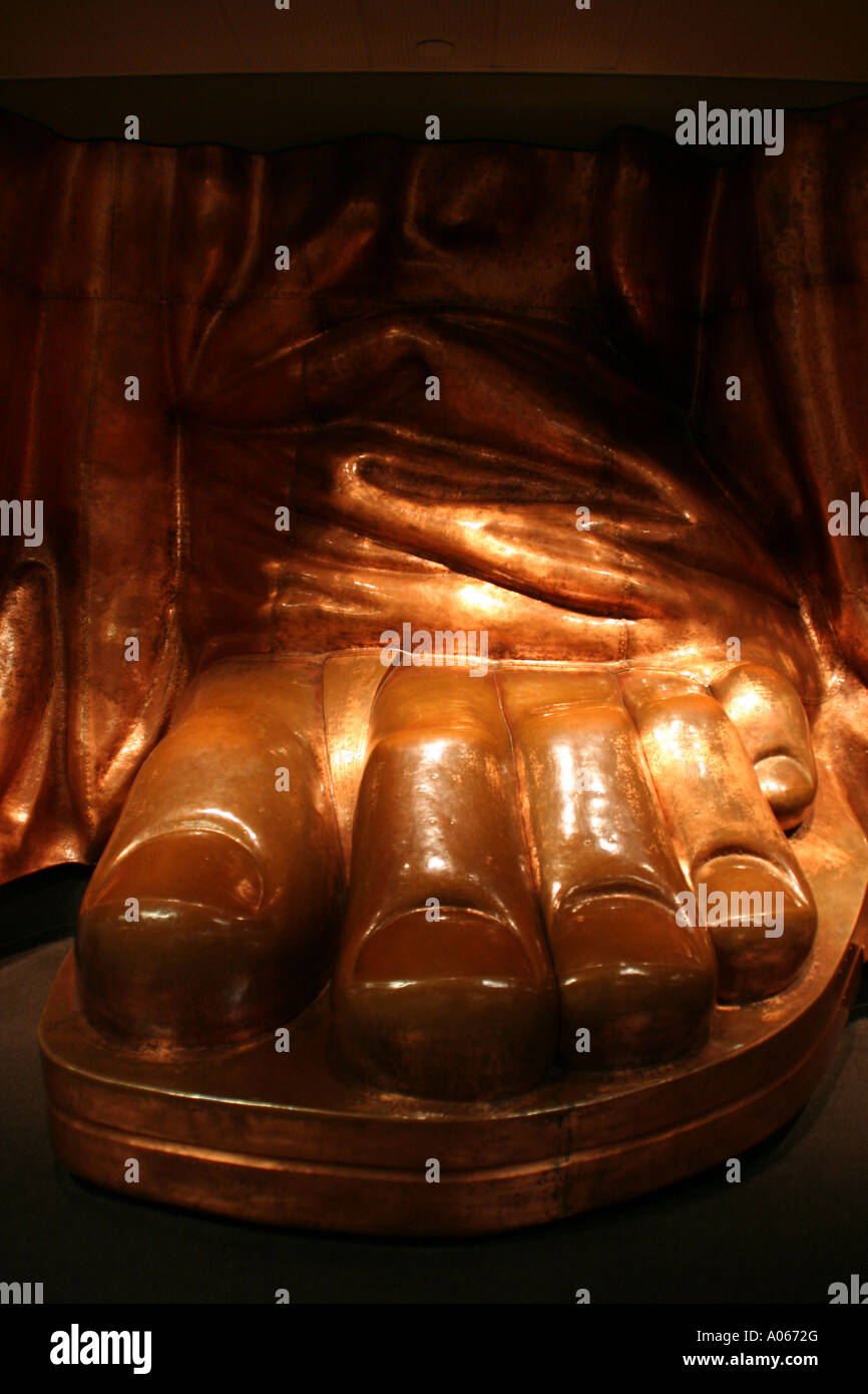 Full size replica of Liberty's left foot on display inside the pedestel, Liberty Island, Upper New York Bay - Stock Image