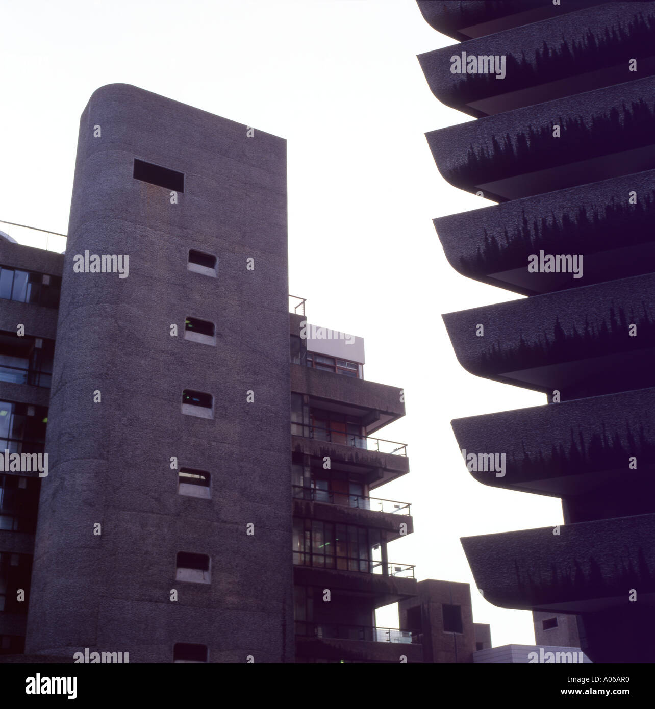 Detail of balconies of flats at the Barbican Estate  modern architecture London England UK   KATHY DEWITT - Stock Image