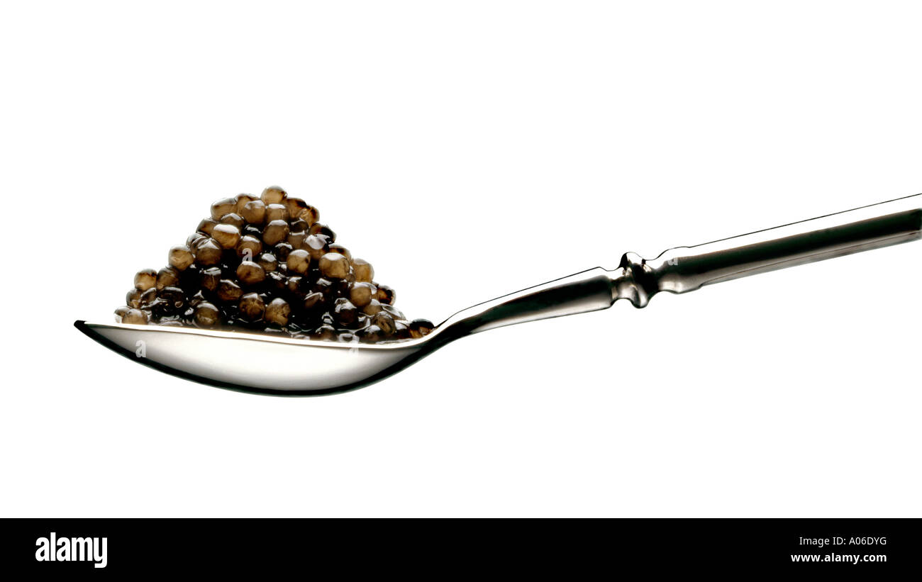 CAVIAR ON A SILVER SPOON WITH CUT OUT WHITE BACKGROUND - Stock Image