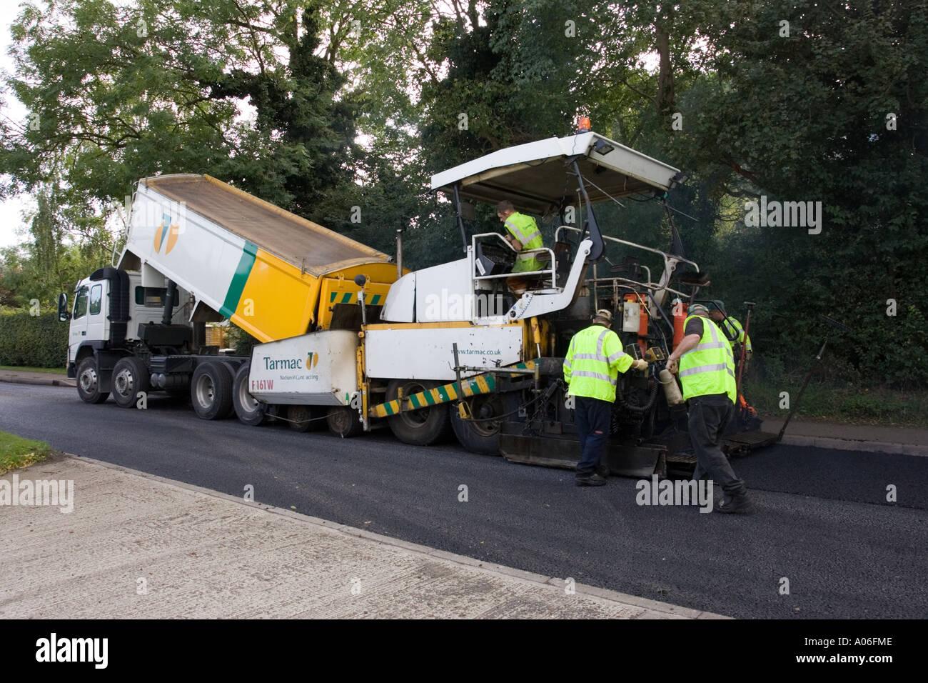 Tarmac asphalt being laid to r...
