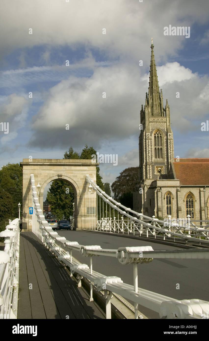 View of bridge and All Saints church at Marlow - Stock Image