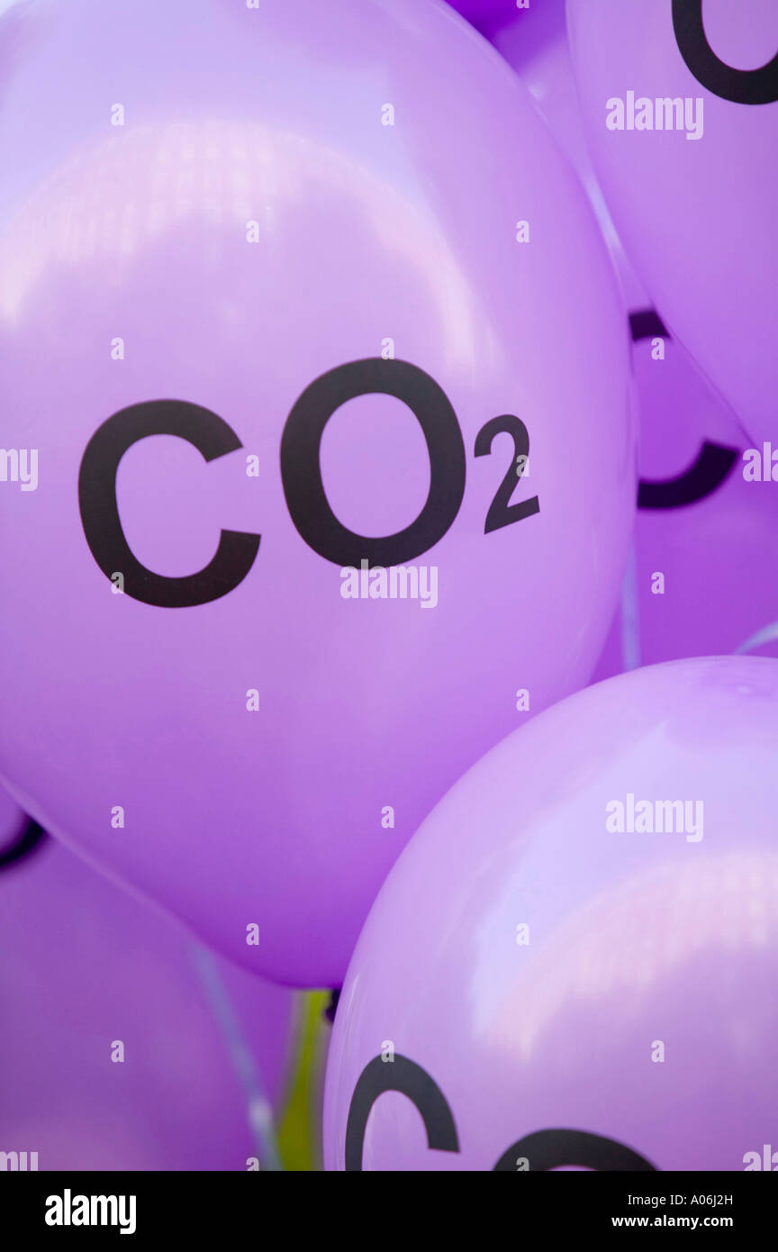 Co2 balloons at the I Count climate change rally in London, UK - Stock Image