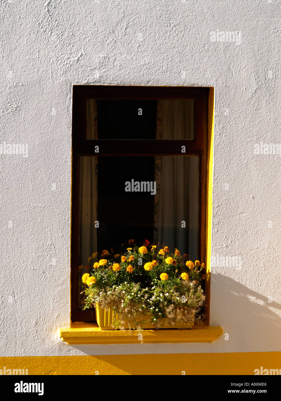 WHITE and YELLOW COTTAGE WINDOW with yellow flowers in the window box Eire Ireland - Stock Image