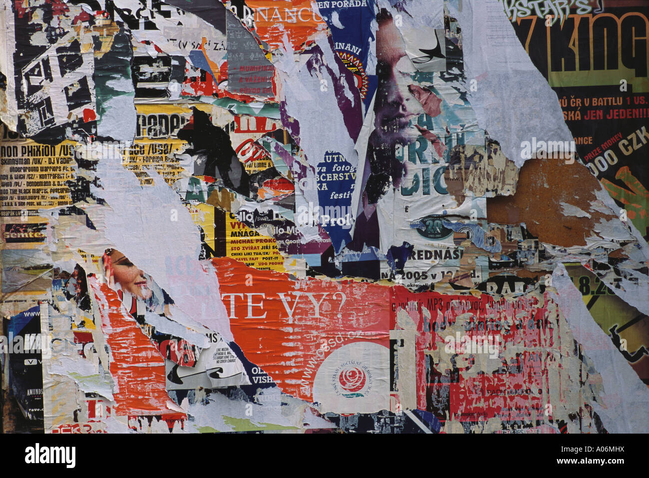 Detail of Ripped poster display Prague - Stock Image