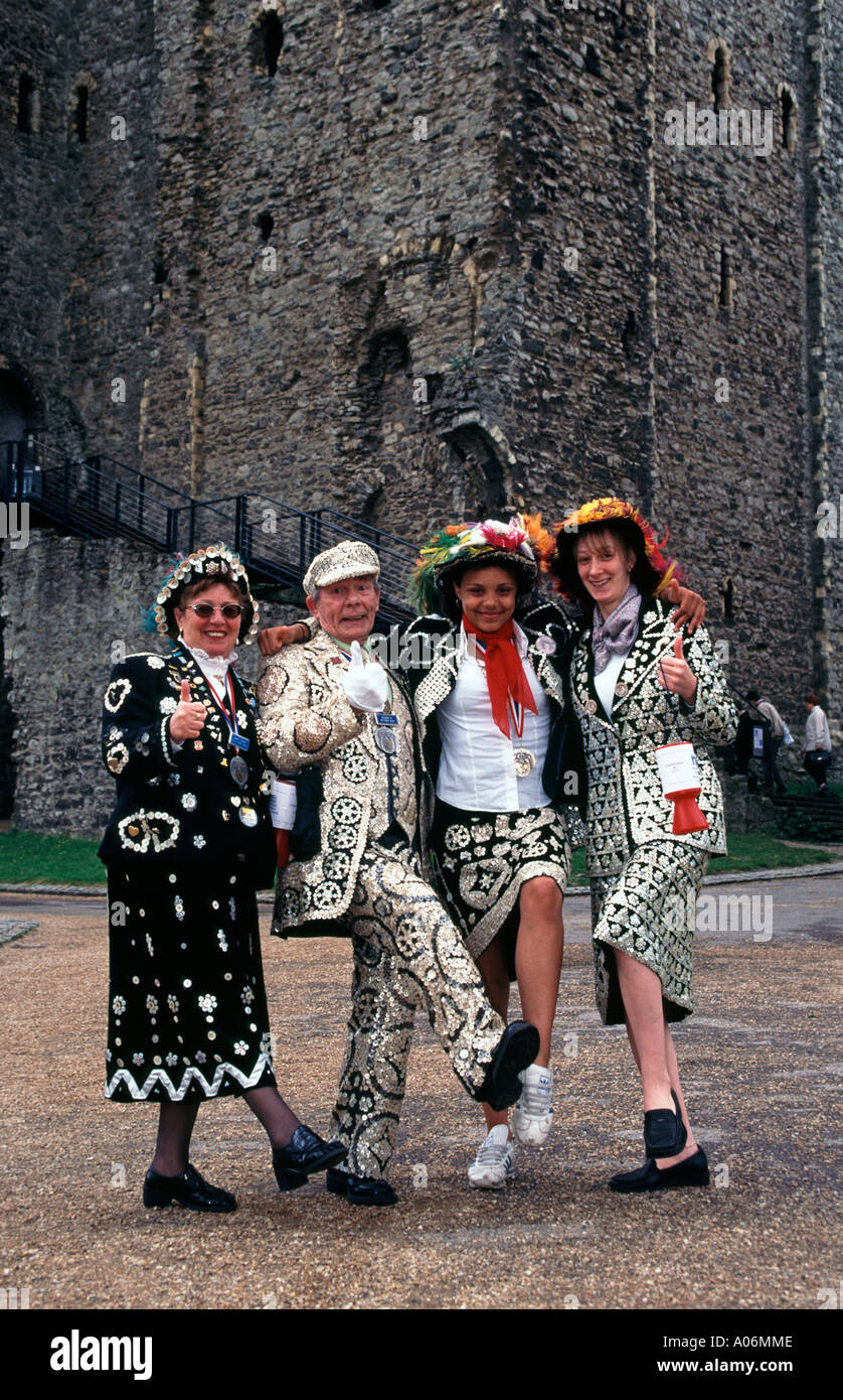 Pearly King George Major and Pearly Queens at Dickens Festival Rochester Kent England UK - Stock Image