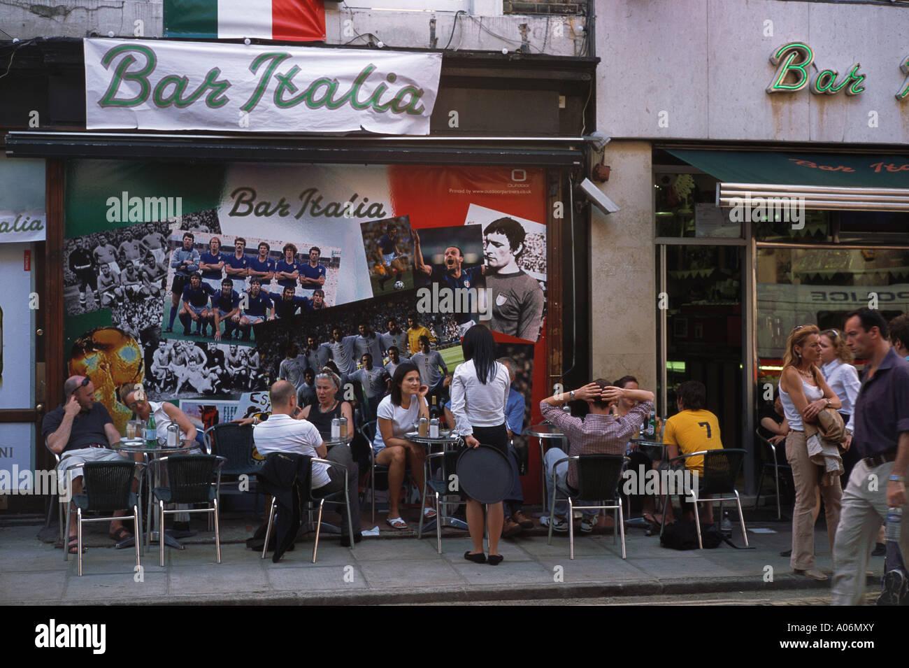 Bar Italia Dean Street Soho London - Stock Image