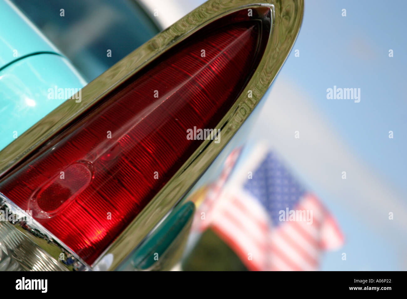 Classic American car with Stars and Stripes flag - Stock Image