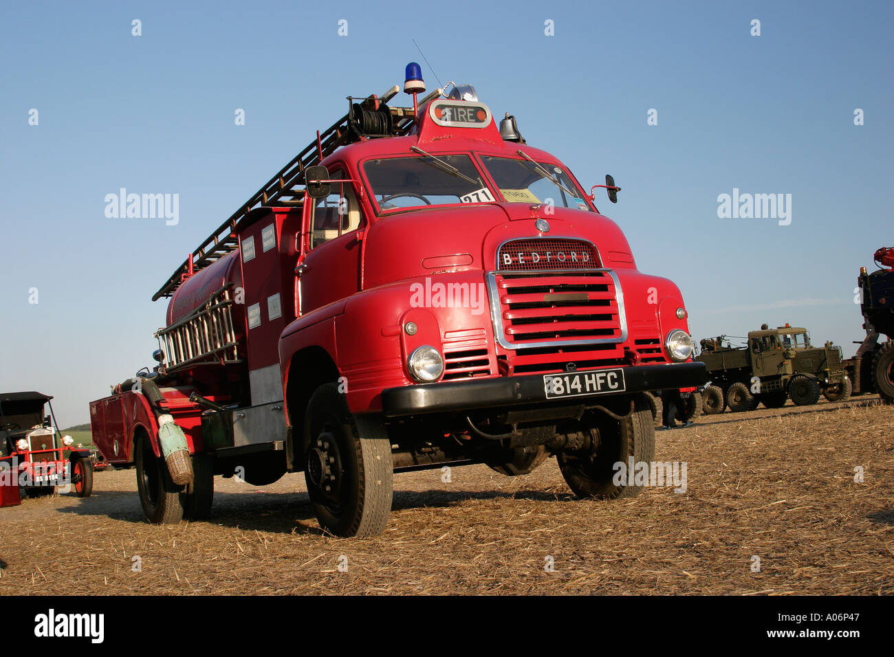Vintage Bedford fire engine, Great Dorset Steam Fair, England, UK - Stock Image