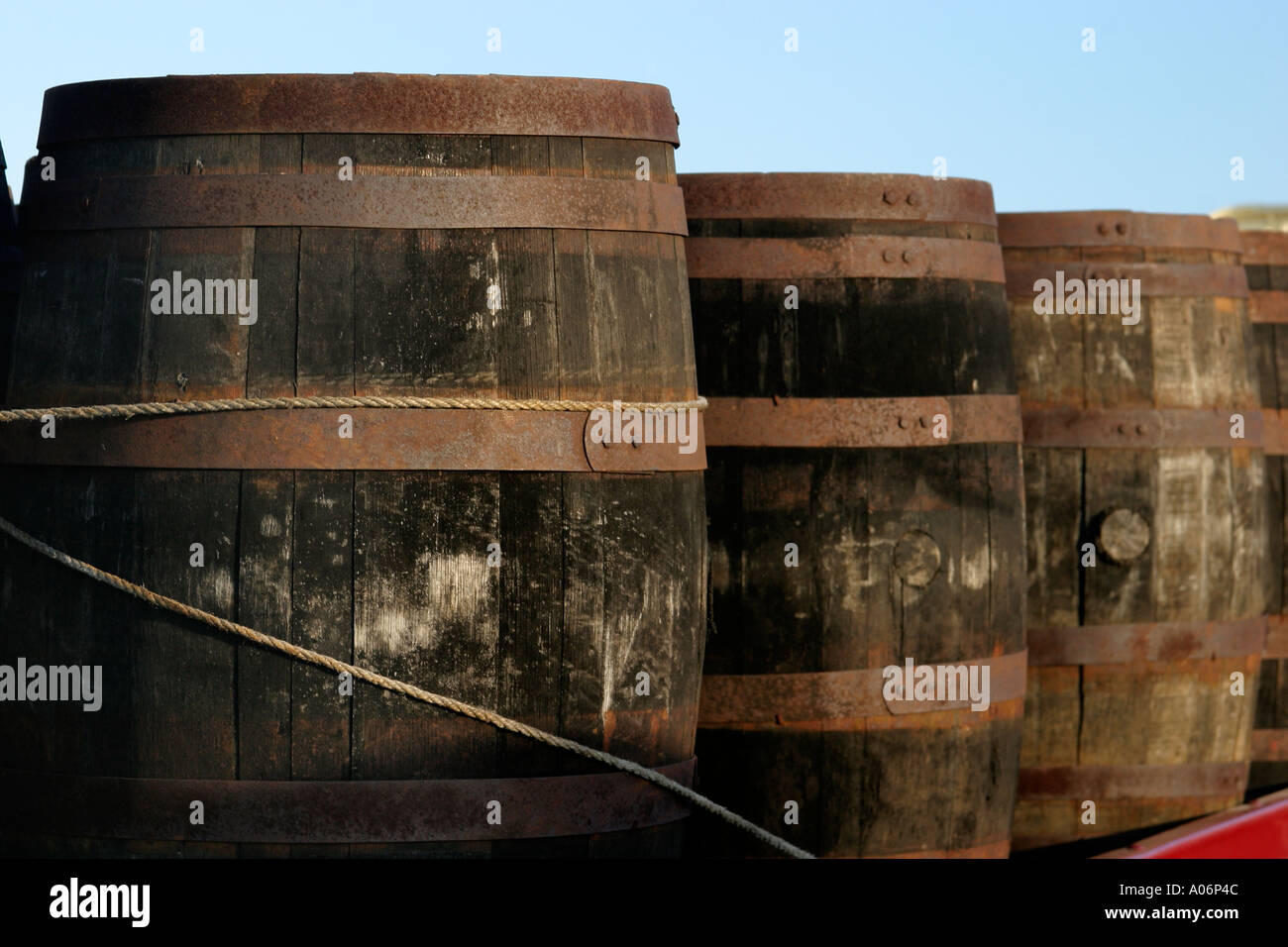 Beer barrels on back of lorry - Stock Image