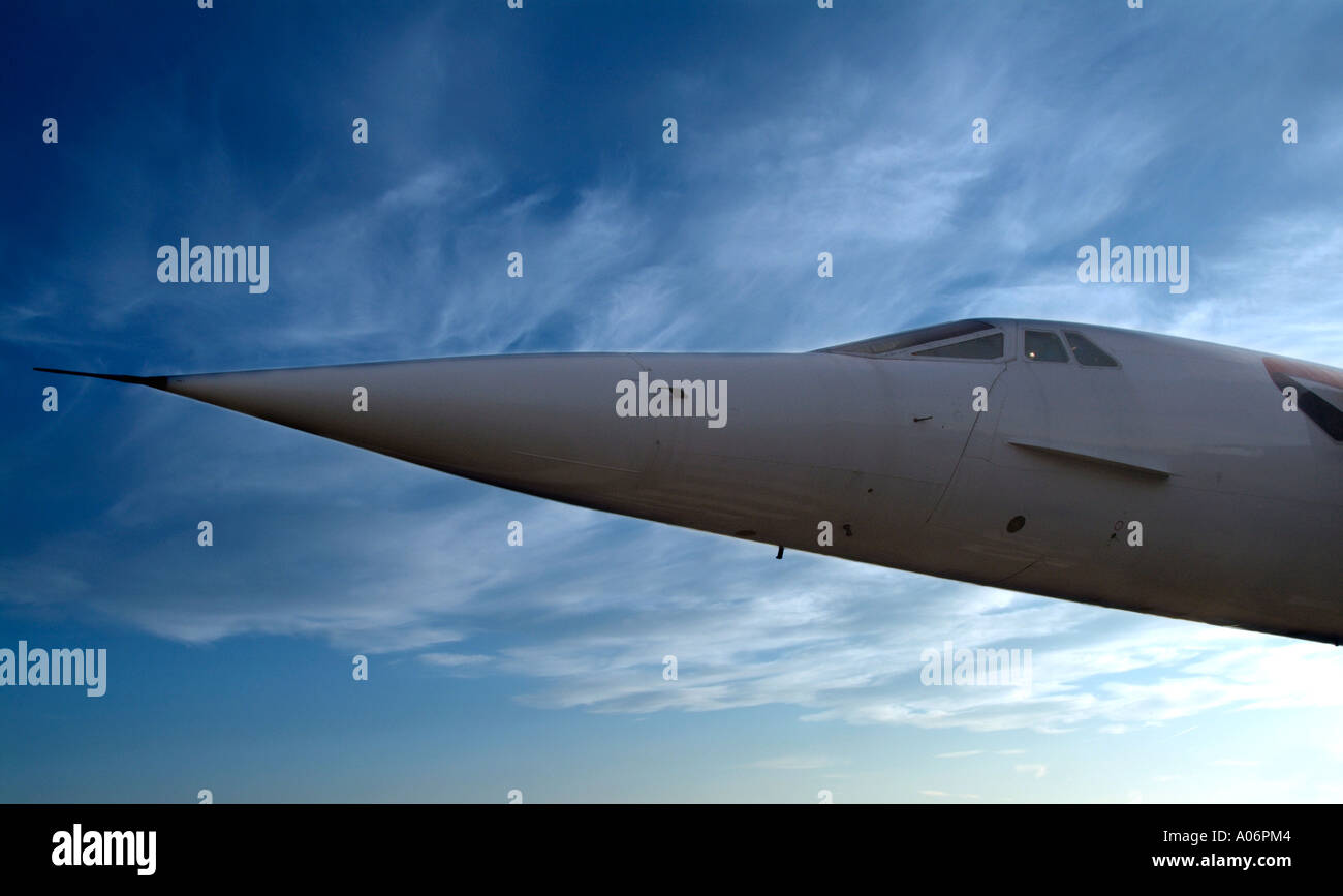 Concorde anglo french supersonic aircraft England UK United Kingdom GB Great Britain EU European Union Europe - Stock Image