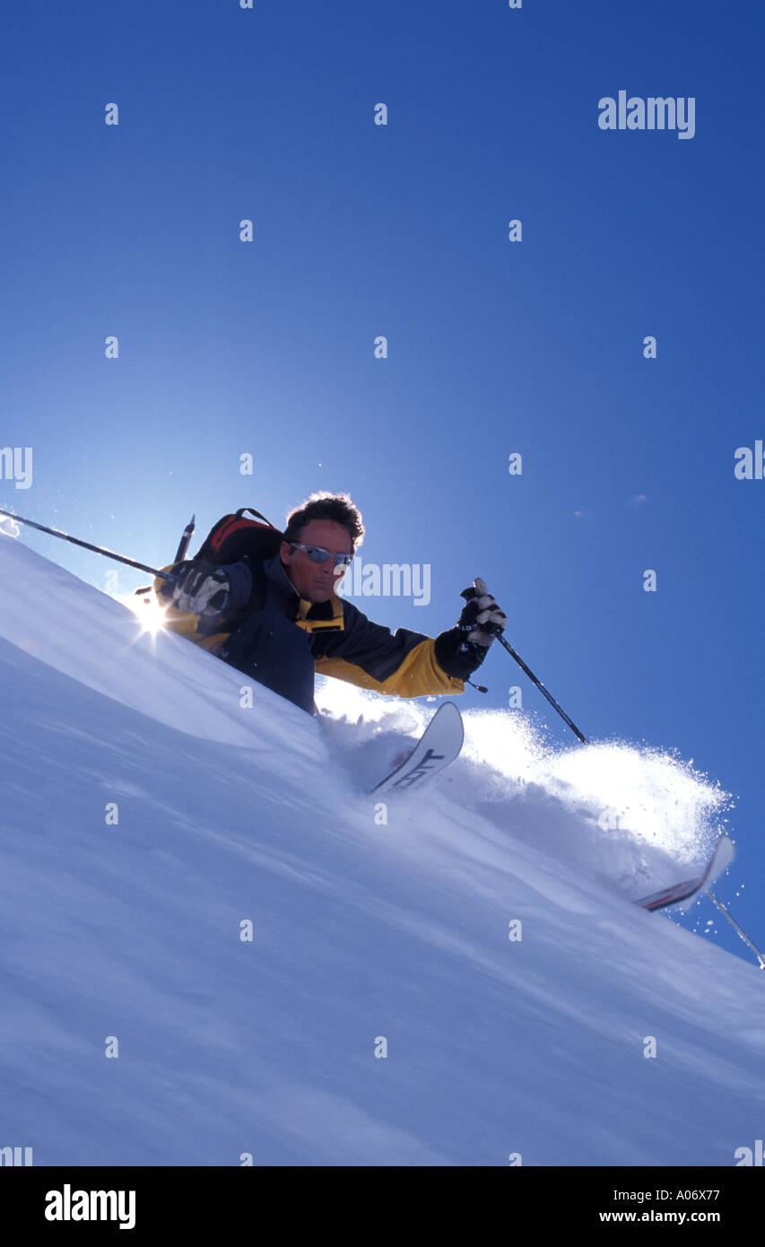Jorg Johannes skiing in Chamonix France - Stock Image