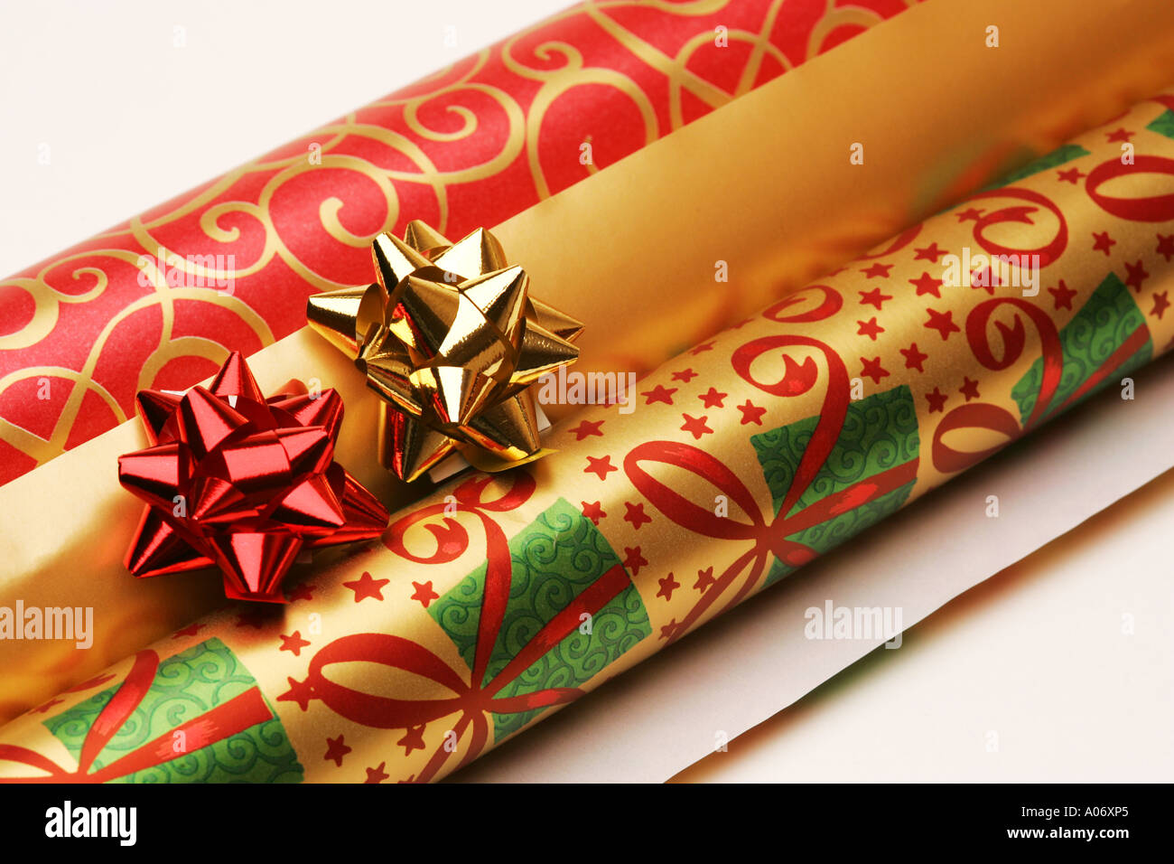 rolls of festive seasonal xmas christmas gift present wrapping paper