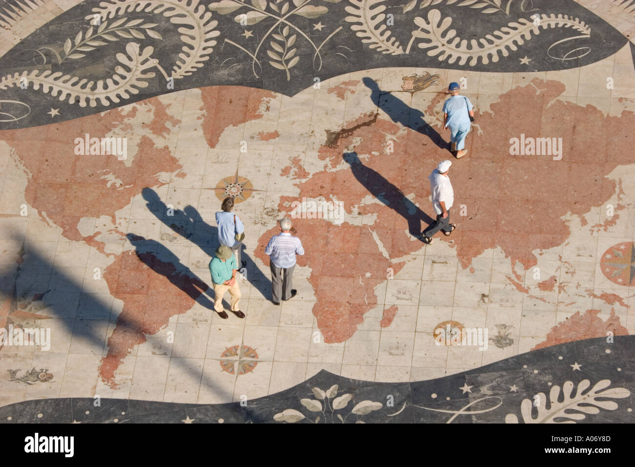 Lisbon Portugal Map of world in front of Monument to the Discoveries ...