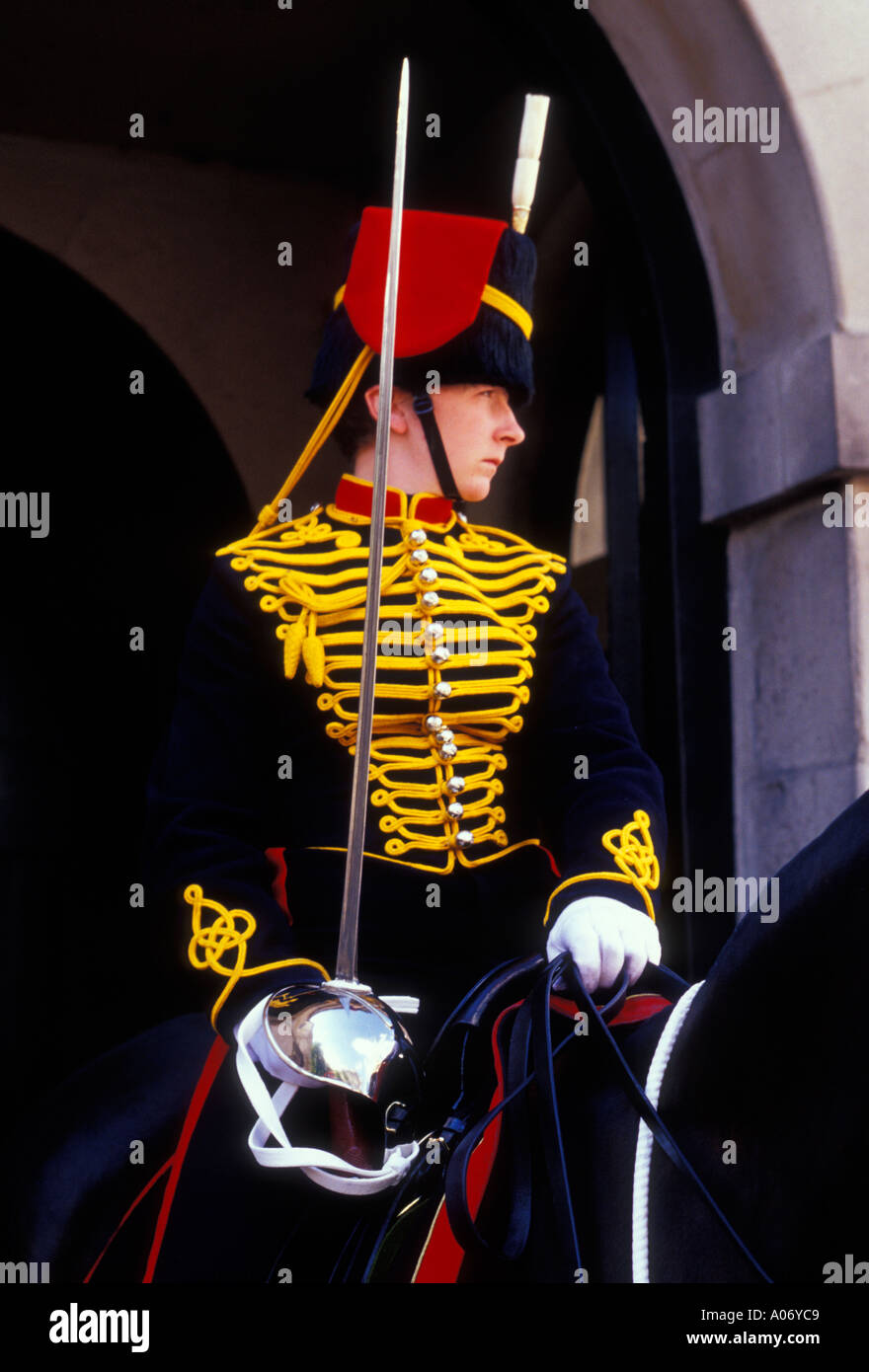 adult woman, female Horse Guard, Horse Guard, Horse Guard of Household Cavalry, Household Cavalry, Horse Guards, London, England - Stock Image