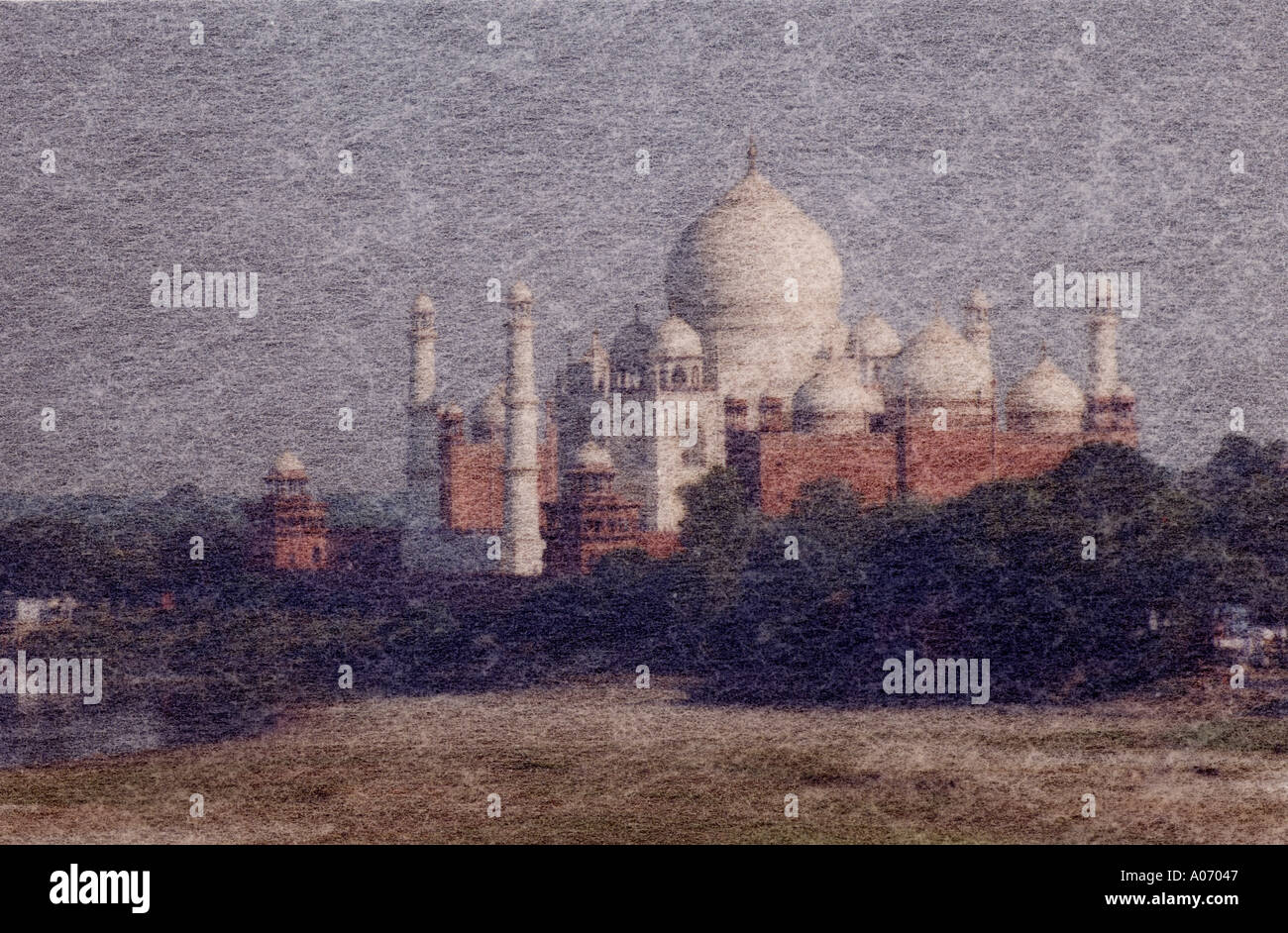 Taj Mahal from the Red Fort Artistic Impression, Rajasthan, India Stock Photo
