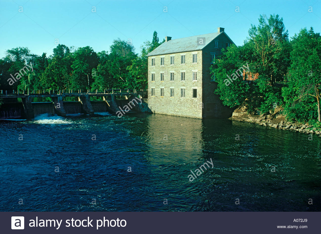 Watson's Mill a gristmill museum and dam on the Rideau River at Manotick Ontario Canada - Stock Image