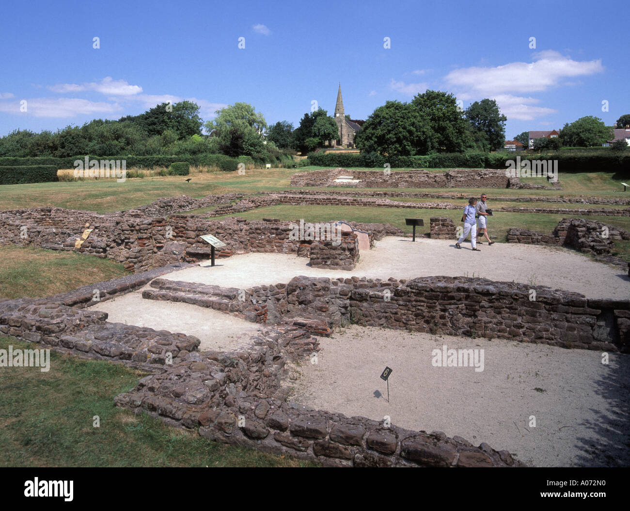 Historical Roman Empire ancient ruins of settlement layout of Letocetum on Watling Street village of Wall near Lichfield in Staffordshire Britain UK - Stock Image
