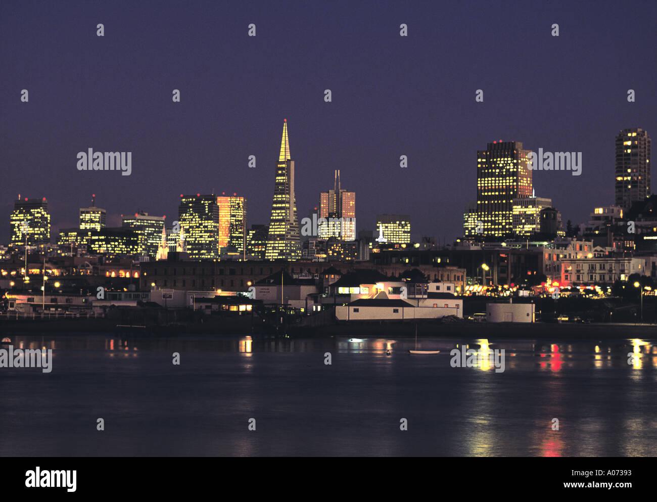 San Francisco Skyline at Dusk California USA - Stock Image