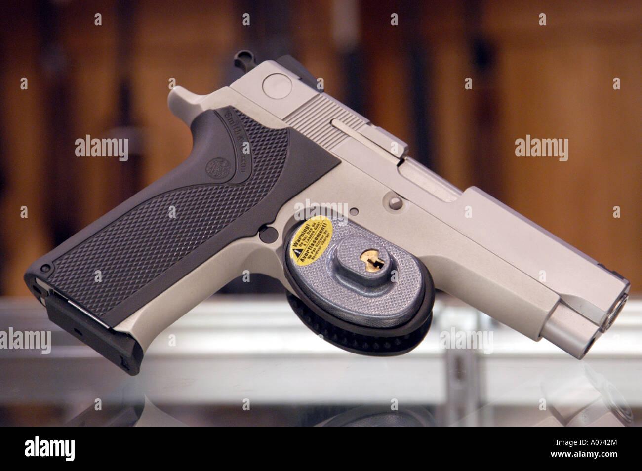Gun Lock On Semi-Automatic Pistol, Hand Gun Stock Photo