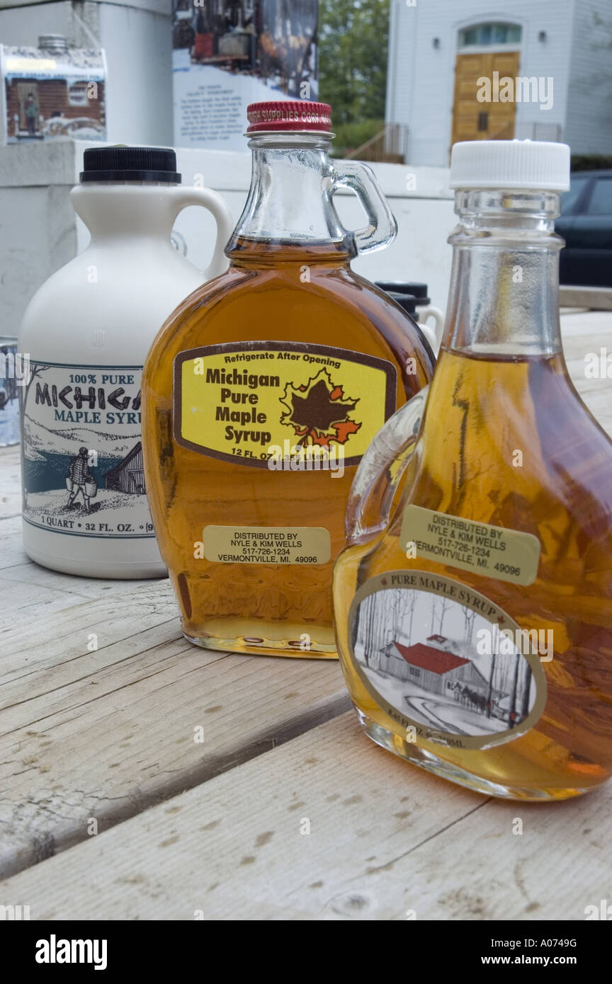 Maple Syrup Festival Bottles Closer Vermontville Michigan USA