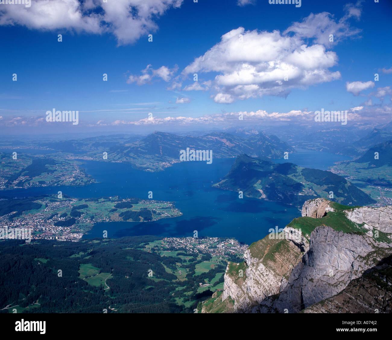 Lake Lucerne from mount pilatus, Switzerland - Stock Image