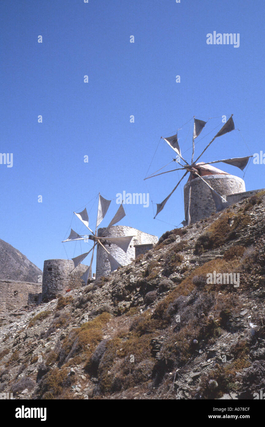Windmills of Olympos Olymbos Greek Dodeanese Island Karpathos Greece Stock Photo