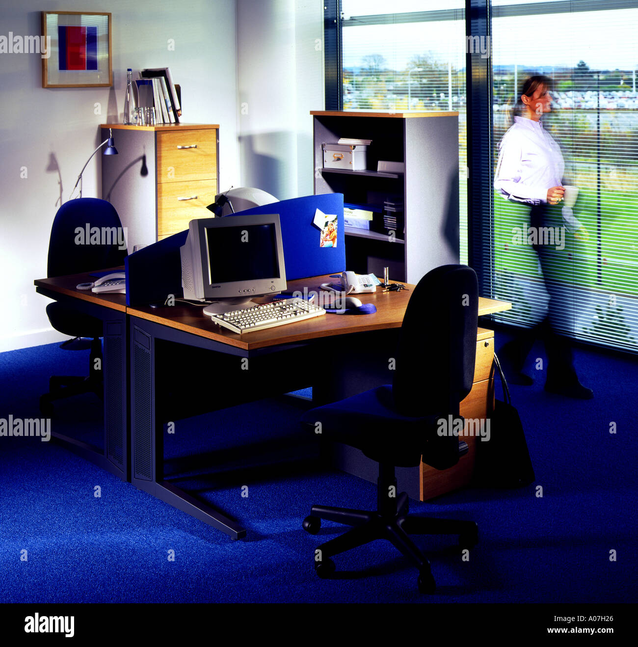 company tidy office. Chair, Desk, Carpet, Architecture, Business, Horizontal, Indoors, Office, In A Row, Tidy, Day, Illuminated, Showcase Interiors, Company Tidy Office