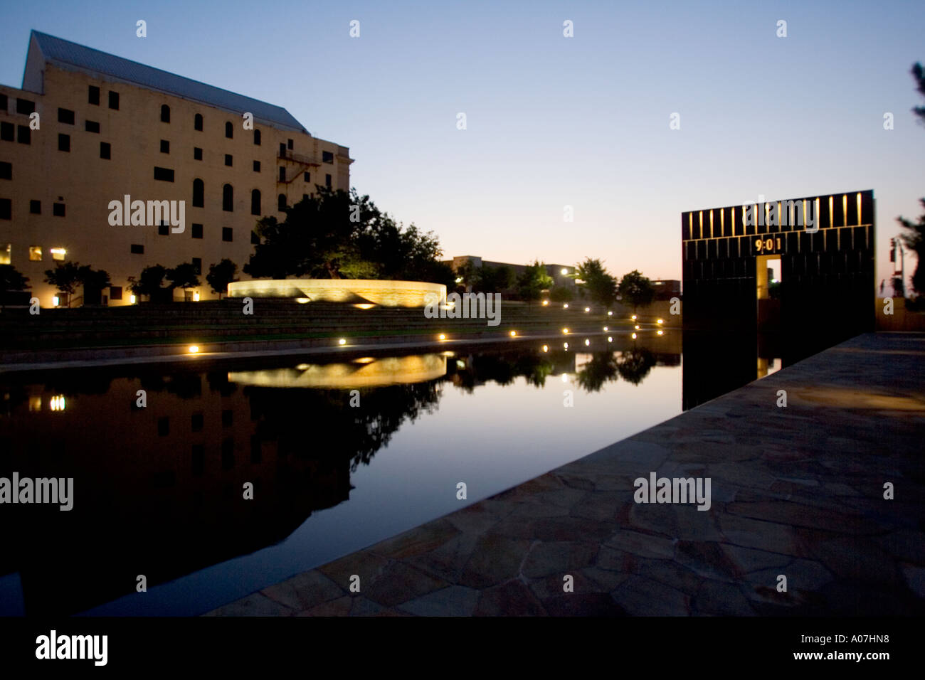 Oklahoma City bombing memorial in stunning light Stock Photo