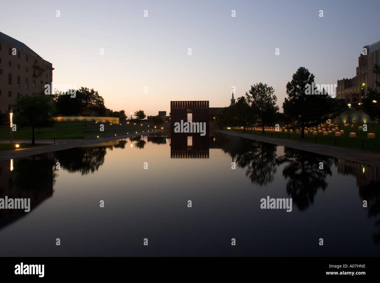 Oklahoma City bombing memorial in stunning light Stock Photo