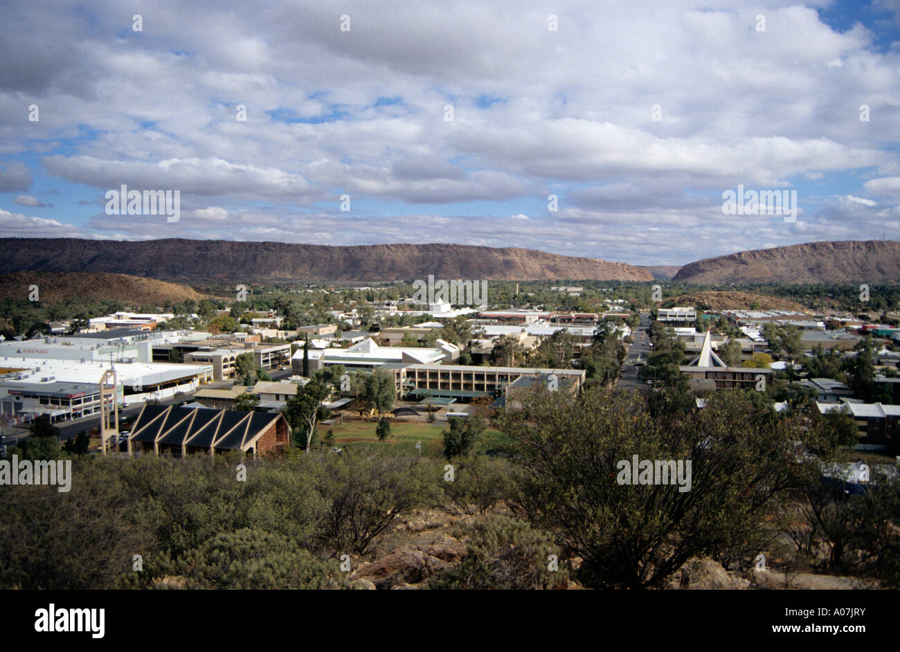 View of Alice Springs from ANZAC Hill, Alice Springs, Northern Territory, Australia. - Stock Image