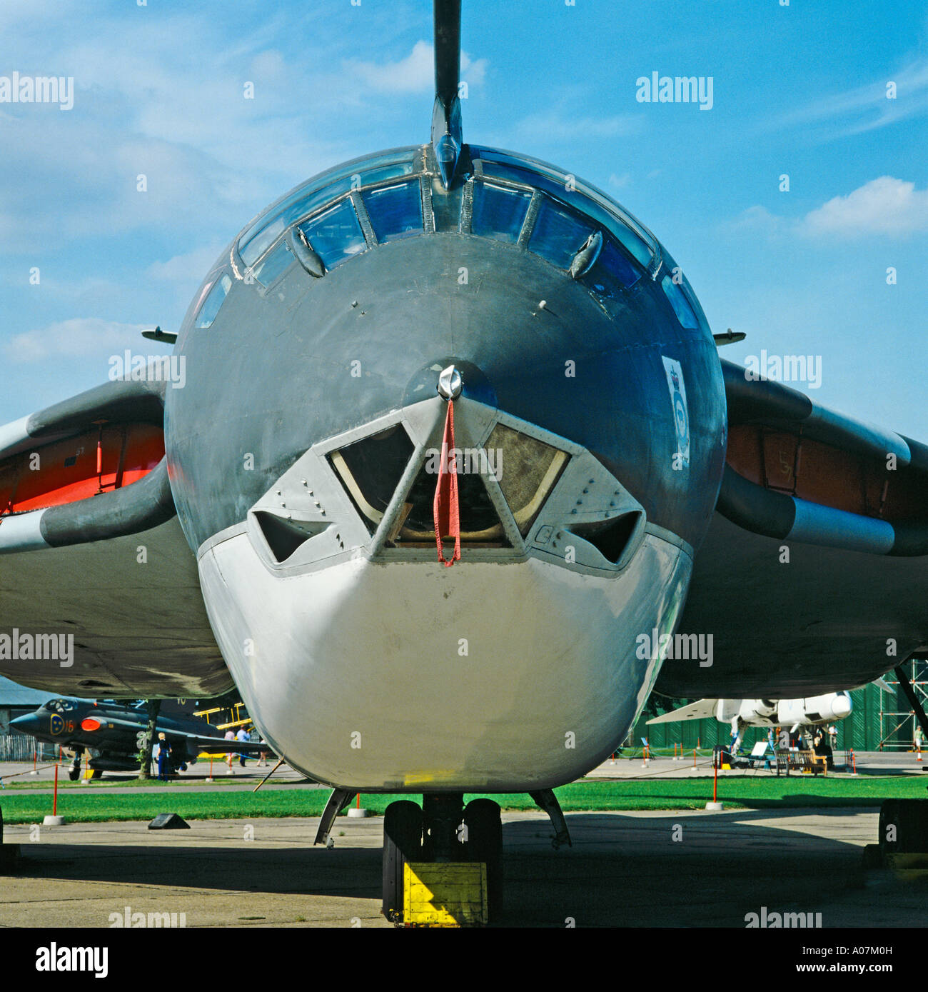 Front view of nose of a Handley Page Victor B(K)1A (XH648) nuclear V bomber; Royal Air Force, UK EU. - Stock Image