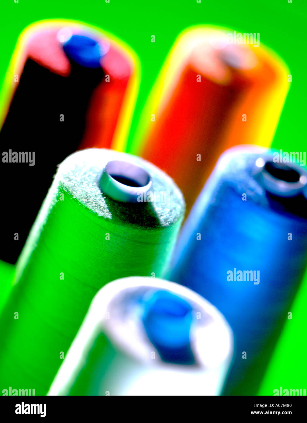 A brightly coloured photograph of various still life items. - Stock Image