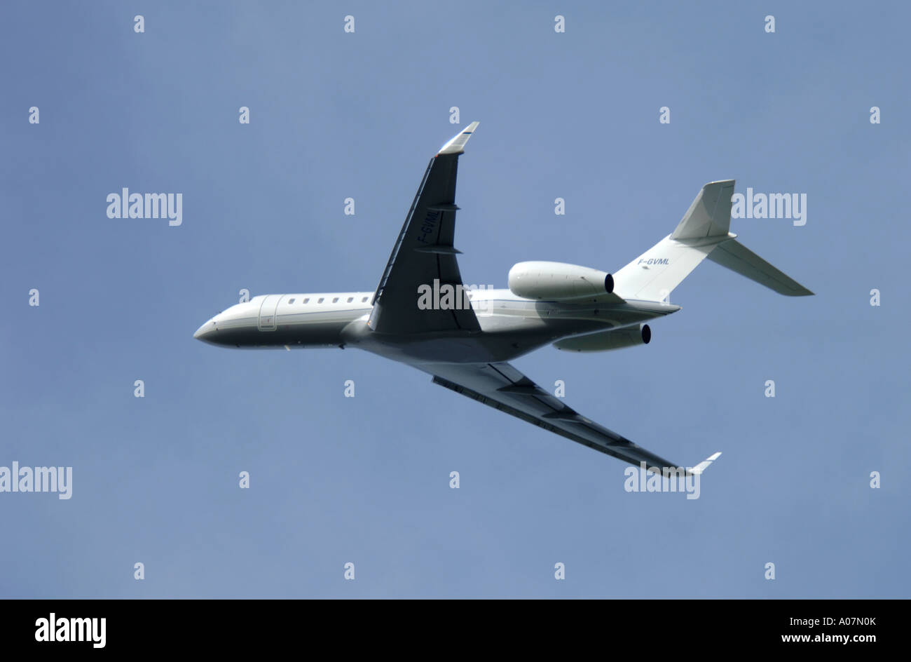 Dassault Falcon 900 super large Tri Jet departing Inverness Dalcross Airport.  XAV 3990-380 - Stock Image