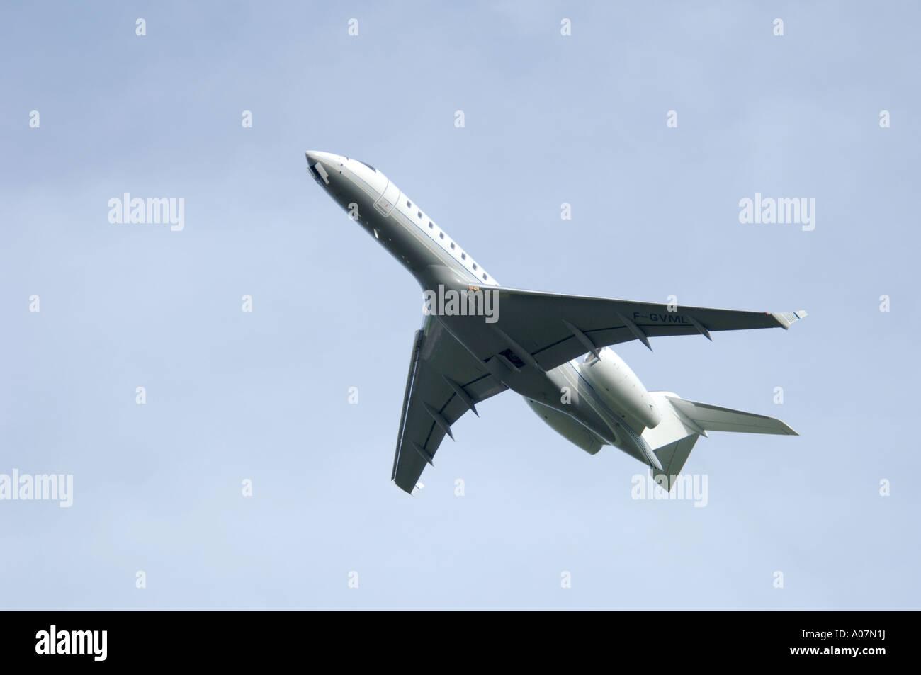 Dassault Falcon 900 super large Tri Jet departing Inverness Dalcross Airport.  XAV 3991-380 Stock Photo