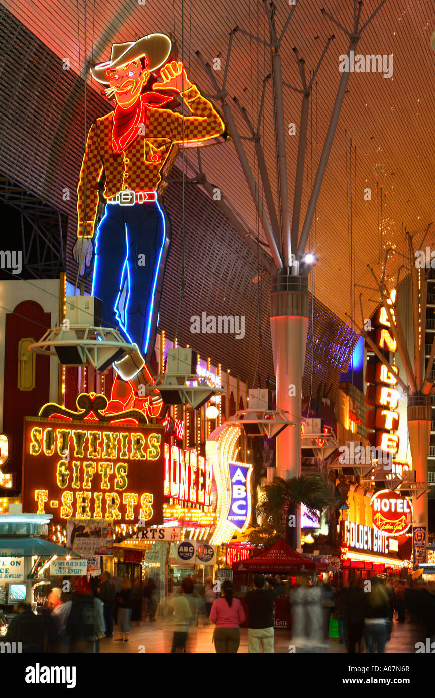 Neon Cowboy Vic, Downtown Las Vegas - Stock Image