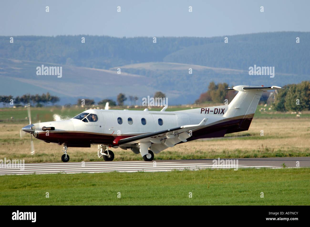 Pilatus PC-12/45 manufactured by Pilatus Aircraft of Switzerland.  XAV 3996-380 - Stock Image