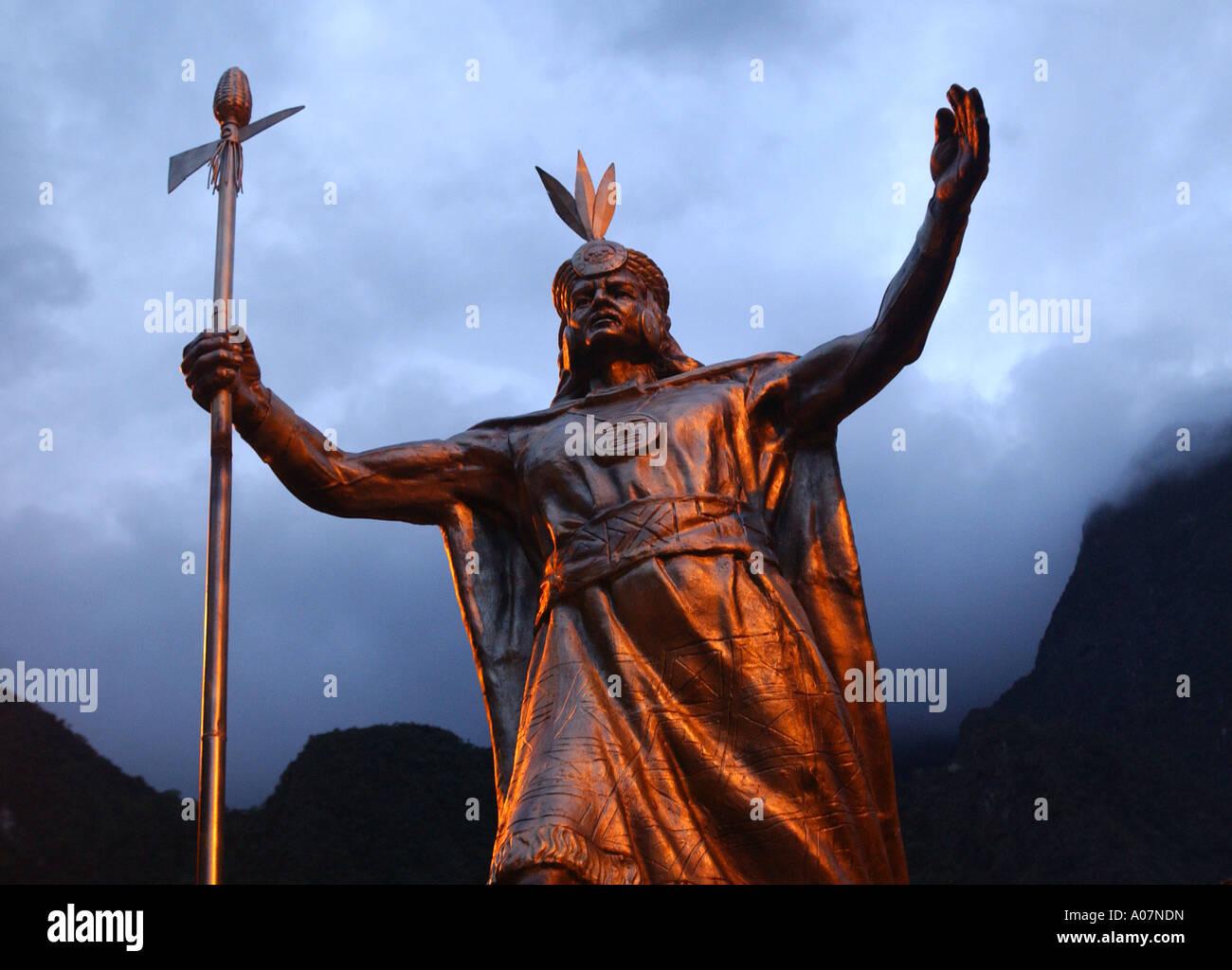 Statue of Emperor Pachacuti in Machu Picchu Pueblo Aguas Calentes - Stock Image