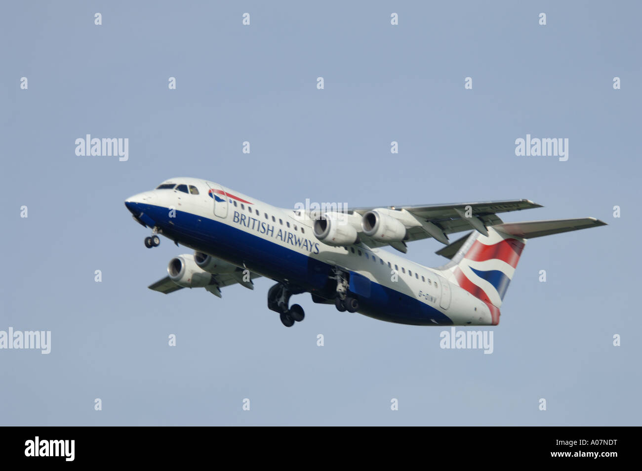 British Airways BAe 146-300 CitiExpress London Bound from Inverness.  XAV 3998-380 - Stock Image