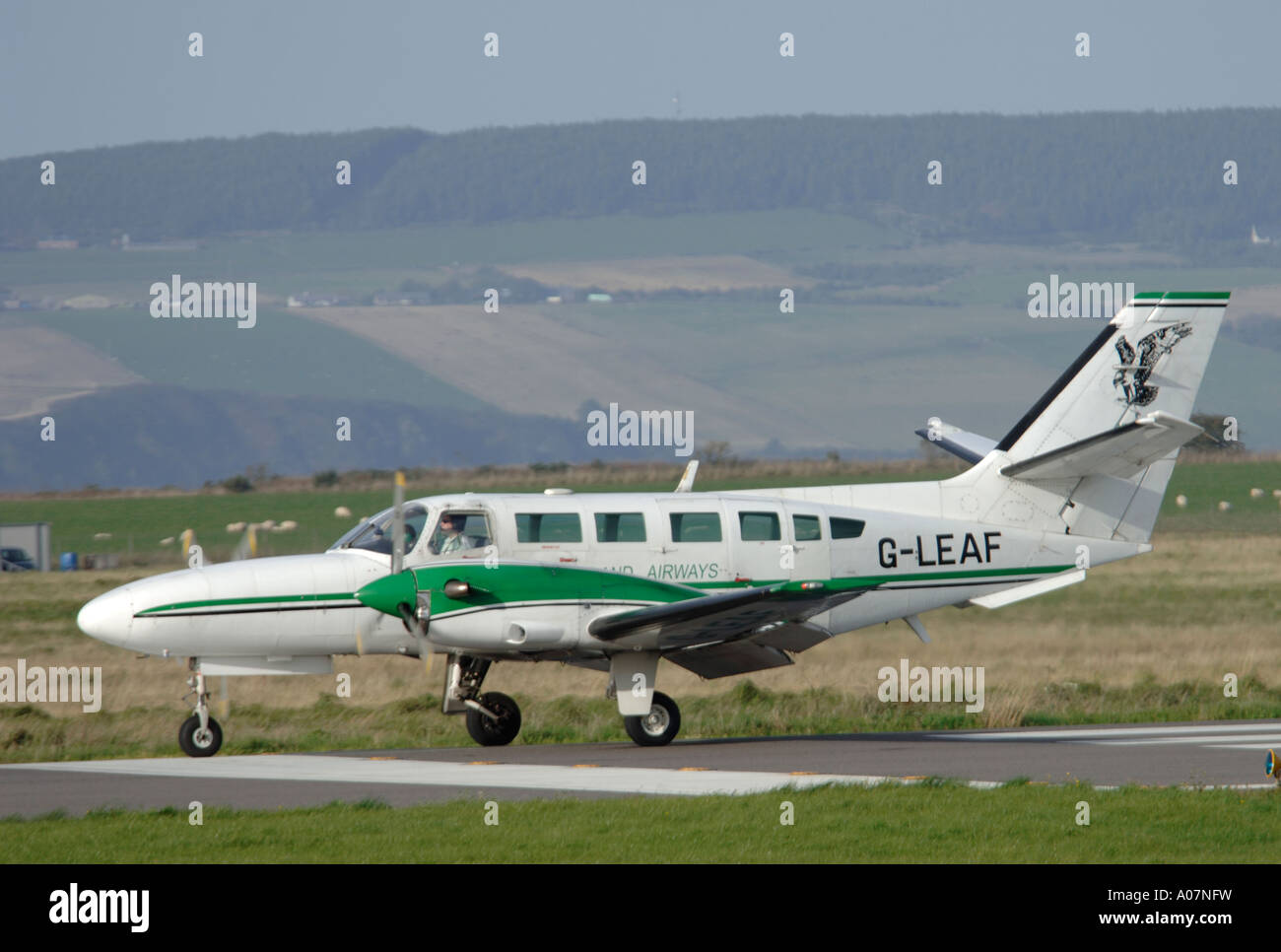 Reims-Cessna 406 Caravan II arriving Inverness Dalcross Airport.  XAV 4003-380 - Stock Image