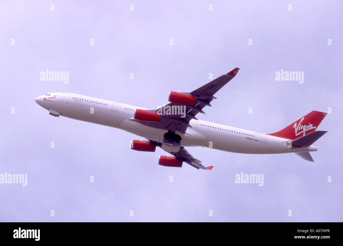 Virgin Atlantic Airways 340-313 Airbus carrying out a low pass.    GAV 4012-382. Stock Photo