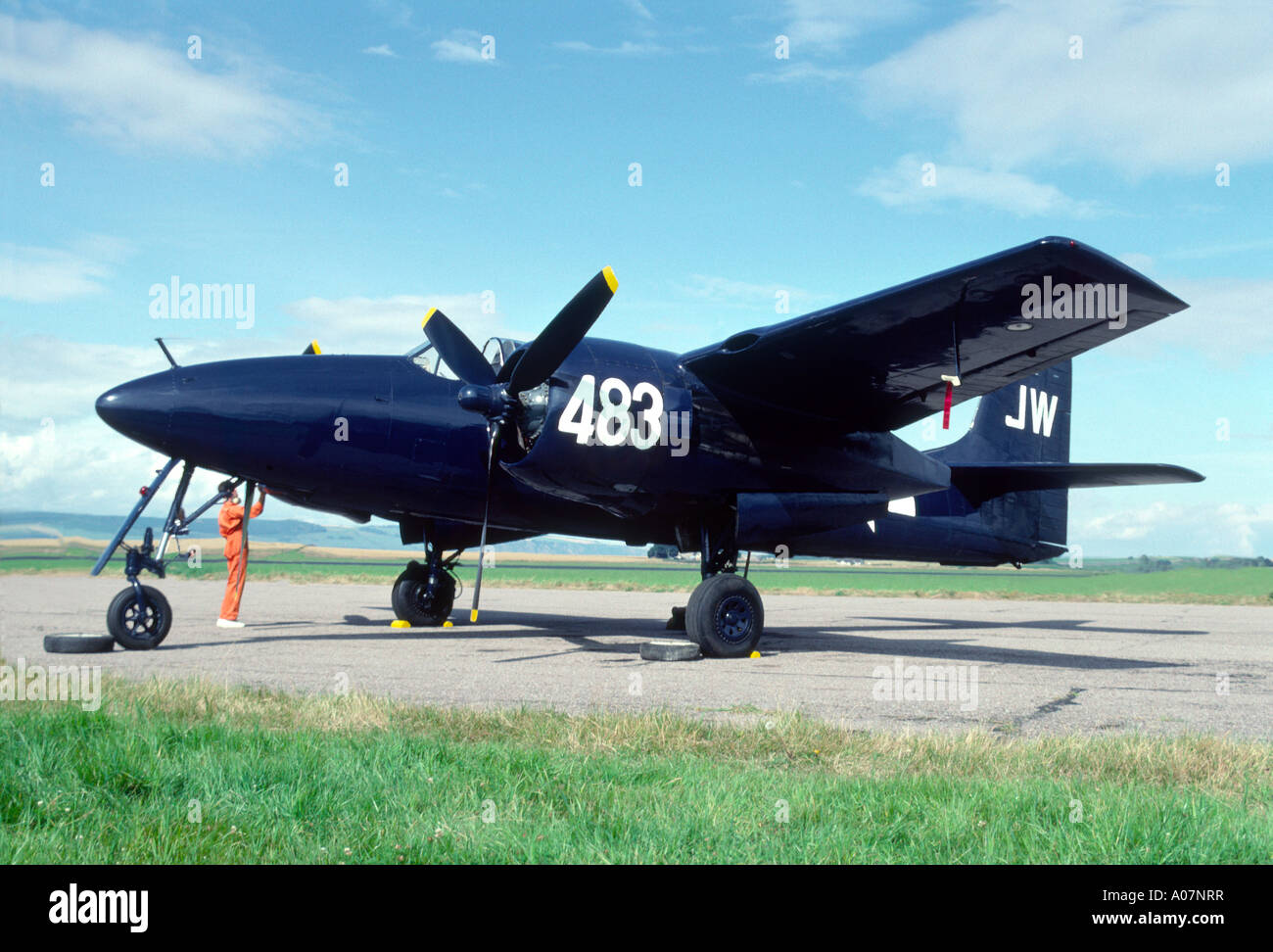 Grumman F7F Tigercat was the first twin-engined fighter aircraft to enter sevice.  GAV 4013-382 - Stock Image
