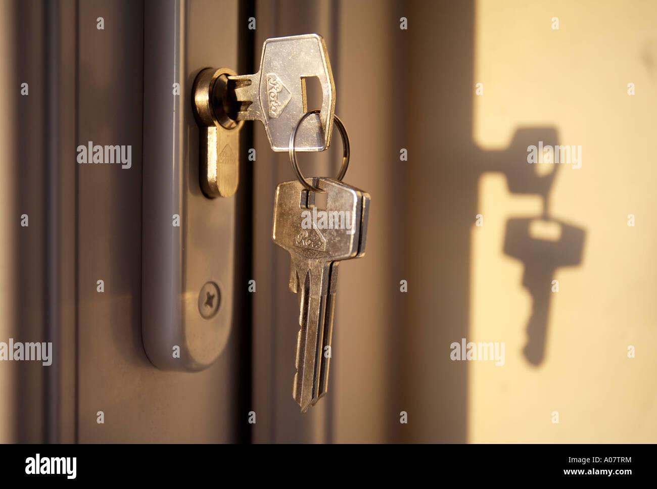 Keys In Door Lock - Stock Image