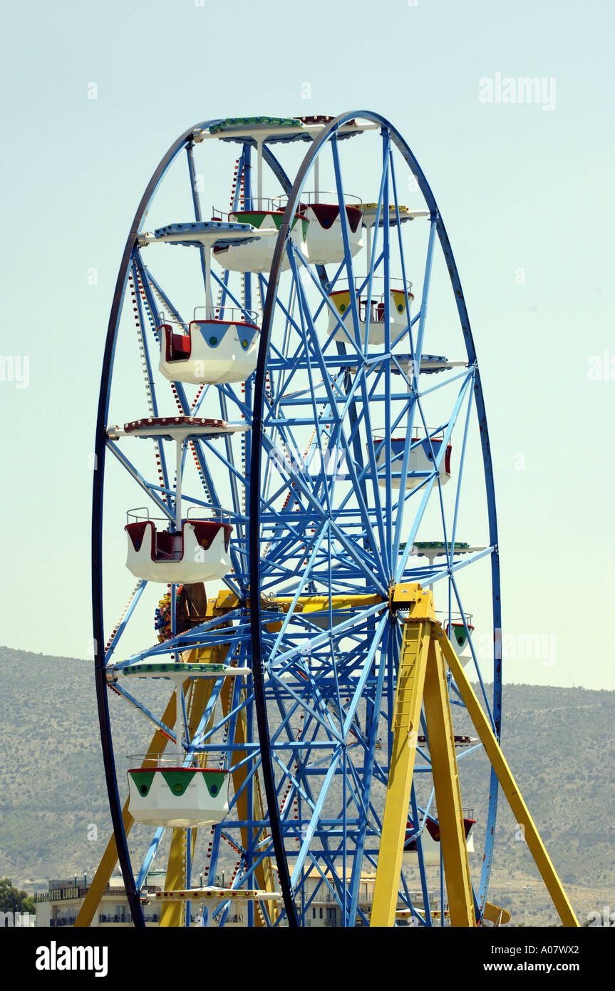 ferris wheel day daylight summer europe athens greece - Stock Image